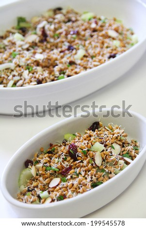 wheatberry salad healthy vertical - stock photo