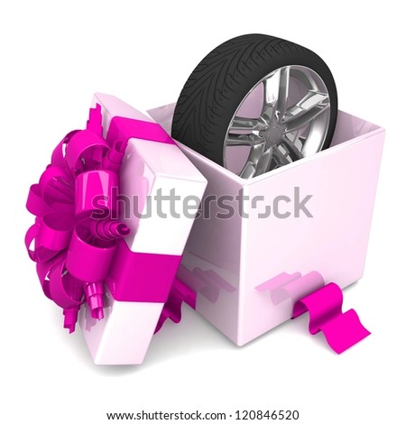 wheel a present, discount for free! opened gift box, with a pink ribbon like a present. over white background 3d illustration. - stock photo