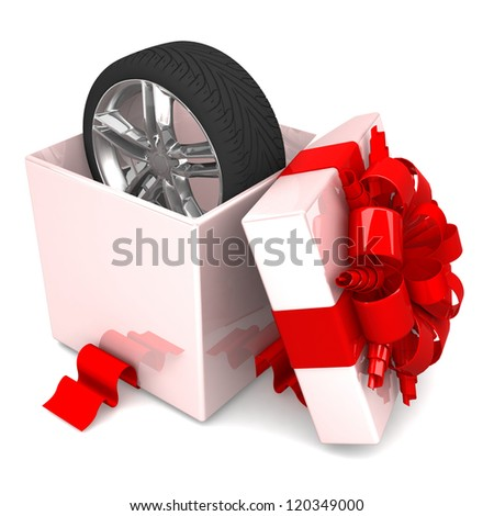 wheel a present, discount for free! opened gift box, with a red ribbon like a present.  over white background 3d illustration. - stock photo