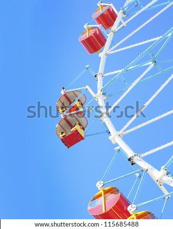 Wheel Amusement Park postcard. - stock photo