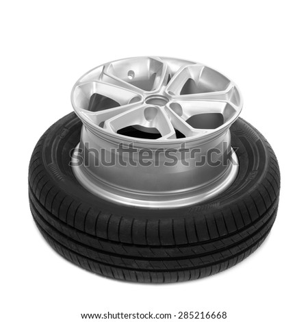 Wheel and tire for a car. Isolate on white. - stock photo