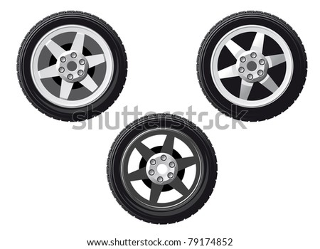 Wheel and tire set isolated on white for design. Vector version also available in gallery