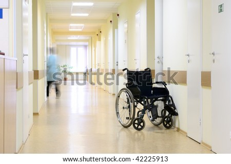 Wheel chair at the hospital corridor.