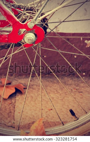 Wheel detail of retro bicycle with autumn leaves. Vintage style. Vertical image.