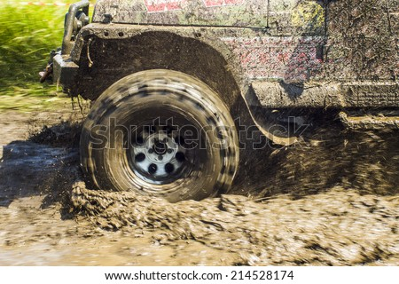 Wheel in the Mud - stock photo