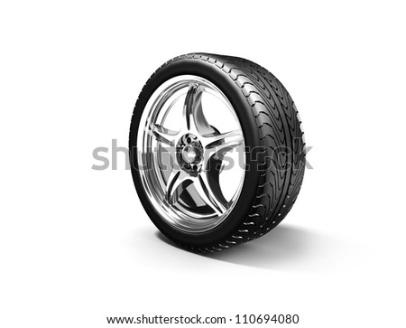 Wheel isolated on white. 3d illustration. - stock photo