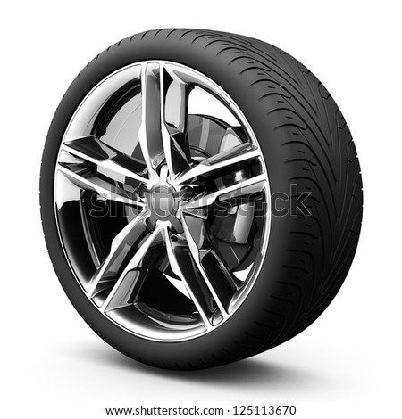 Wheel isolated on white. 3d illustration. Transport concept - stock photo
