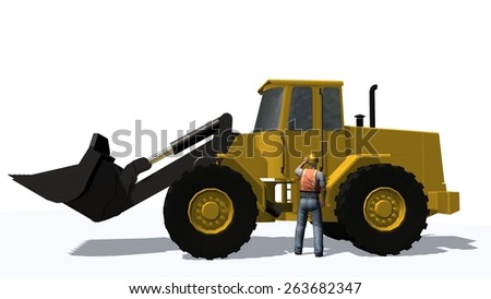 wheel loader with construction worker isolated on white background