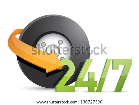 wheel mechanical service 24/7 Concept illustration design over white - stock photo