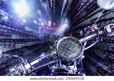 Wheel motorcycle, the prospect of movement. - stock photo