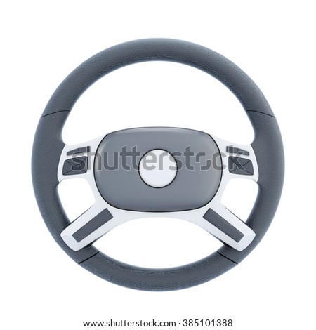 Wheel of a car isolated on white background. 3d rendering. - stock photo