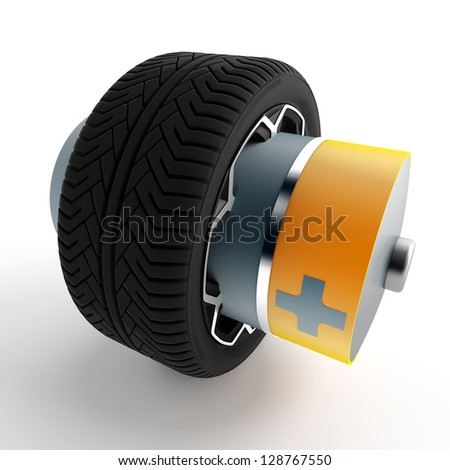 wheel of a car with an attached battery on a white background - stock photo