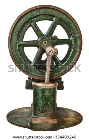Wheel of an old steam engine isolated on a white background
