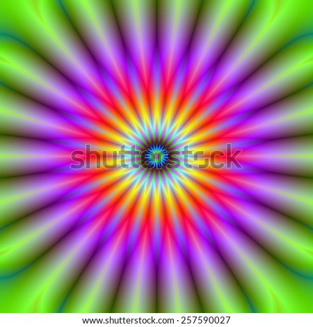 Wheel of Color / A digital abstract fractal image with a color wheel design green, violet, red, yellow and blue.