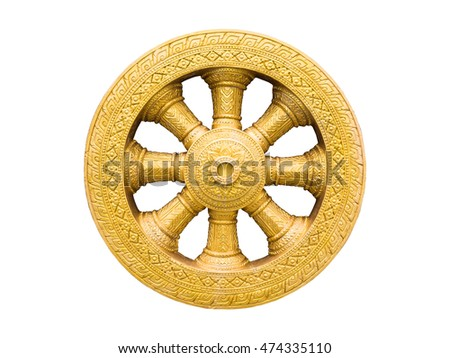 Wheel of life ,Dharmachakra , Wheel of Dhamma isolated on white background