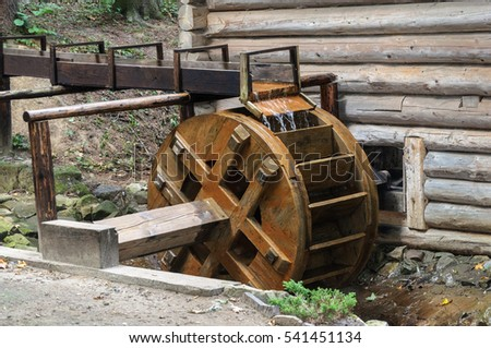 Wheel of old water mill from Ukrainian village