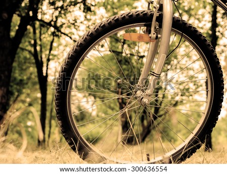 Wheel of sports mountain bike on nature background filtered - stock photo