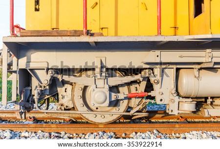 wheel of train  - stock photo
