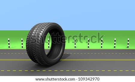 Wheel on the road, abstrct illustration