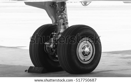 wheel plane,landing gear of plane black and white tone