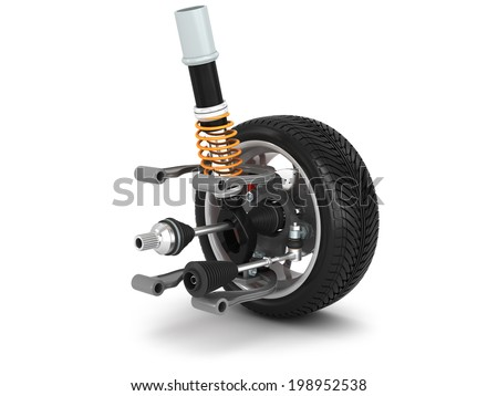 Wheel, shock absorber and brake pads. - stock photo