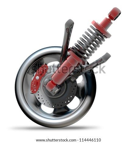 Wheel, shock absorber and brake pads. Isolated on white background. High resolution 3d render - stock photo