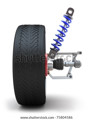 Wheel, shock absorber. Isolated on white - stock photo