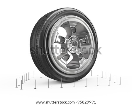 wheel surrounded by nails isolated on white. 3d rendered image