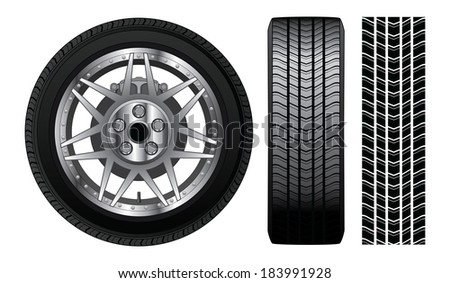 Wheel - Tire and Rim With Brakes is an illustration of a wheel with tire and alloy rim  showing rotor and brakes. Also includes front view of tire and tire track. - stock photo