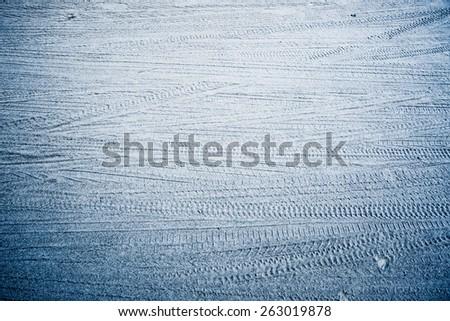 Wheel track on sand - stock photo
