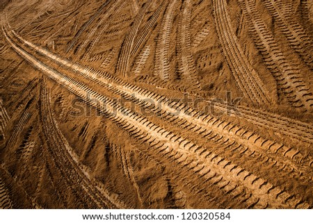 wheel tracks - stock photo