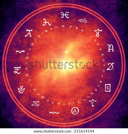 wheel with alchemy and astrology symbols - stock photo