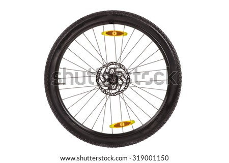 Wheel with front disc brake  for mountain bike isolated on white background
