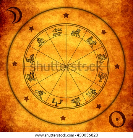 wheel with zodiac signs - stock photo