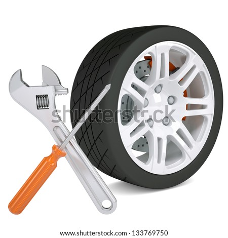 Wheel, wrench and a screwdriver. Isolated render on a white background - stock photo
