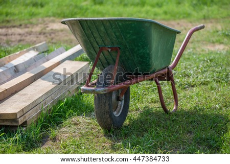 Wheelbarrow at construction site