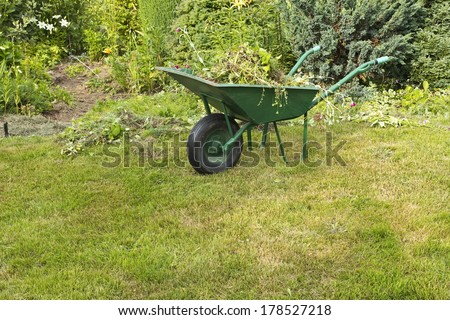 wheelbarrow filled with weed against garden