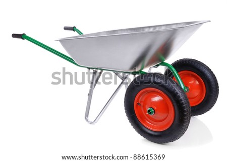 wheelbarrow isolated on a white background. - stock photo