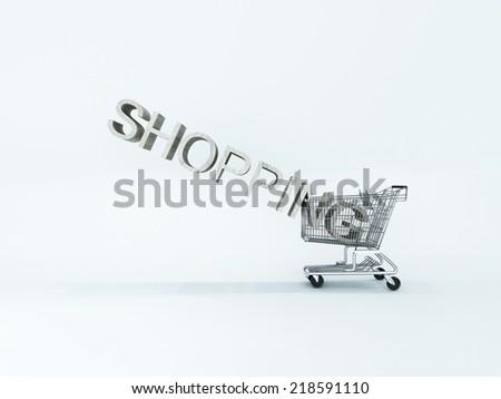 wheelbarrow shopping on white background - stock photo