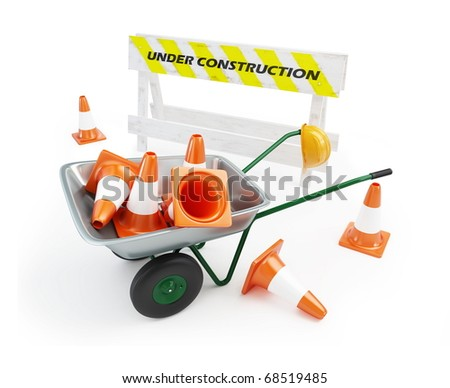wheelbarrow traffic cones, under construction on a white background - stock photo
