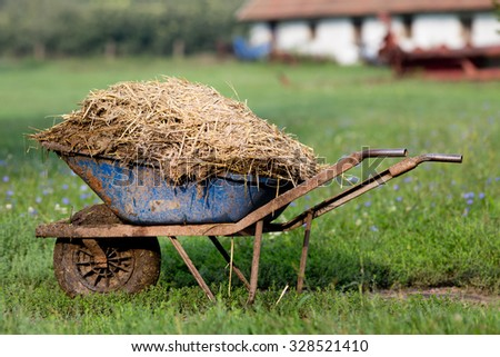 Wheelbarrow with natural cattle manure on the grass. Barn in background - stock photo