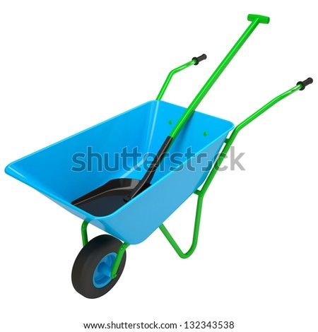 Wheelbarrows and shovel. Isolated render on a white background - stock photo