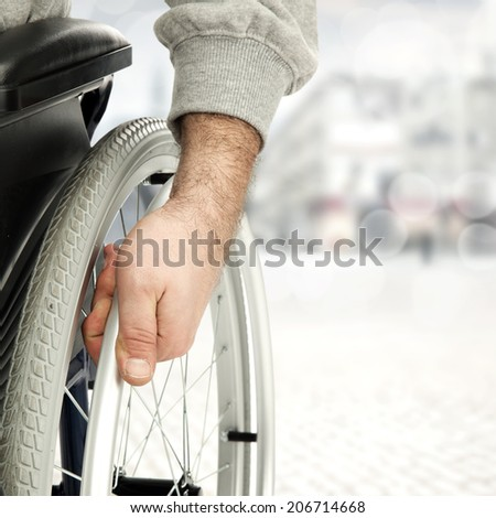 wheelchair and background of street  - stock photo