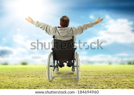 wheelchair and grass