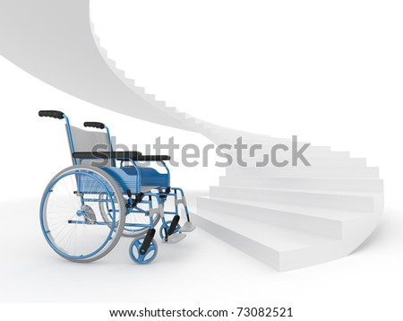 Wheelchair and stairs on white background. Difficult decision. 3d