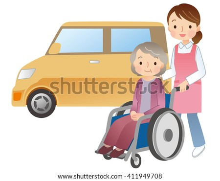 Wheelchair elderly women and caregivers