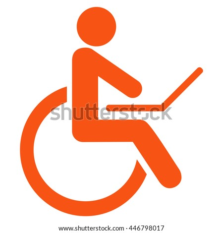 Wheelchair glyph icon. Style is flat icon symbol with rounded angles, orange color, white background.