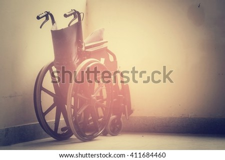 Wheelchair in hospital, process vintage tone