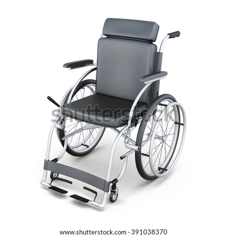 Wheelchair on a white background. 3d render image. - stock photo