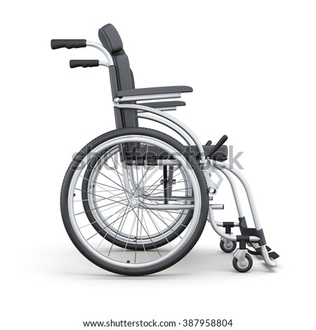 Wheelchair on a white background. Side view. 3d rendering. - stock photo